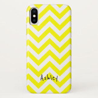 Gelbes und weißes Zickzack mit individuellem Namen iPhone X Hülle