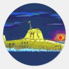 Gelbes Unterseeboot Runder Aufkleber