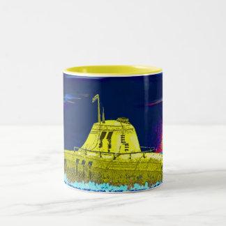 Gelbes Unterseeboot Zweifarbige Tasse