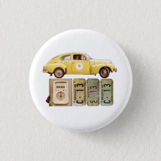 Gelbes Vintages Auto Runder Button 3,2 Cm