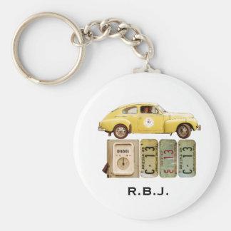 Gelbes Vintages Auto Schlüsselanhänger