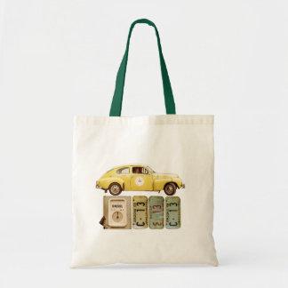 Gelbes Vintages Auto Tragetasche