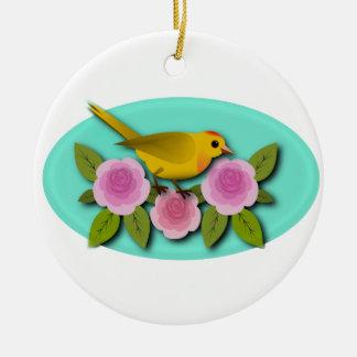 Gelbes Vogel-Rosa-Pfingstrosen-und Aqua-Oval Keramik Ornament