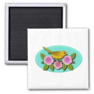 Gelbes Vogel-Rosa-Pfingstrosen-und Aqua-Oval Quadratischer Magnet