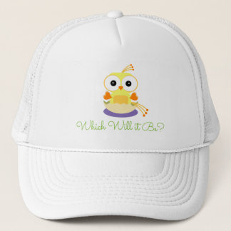 Gelbes Vogelbaby-Geschlecht decken Babyparty auf Truckerkappe