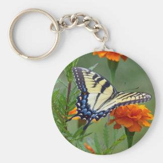 Gelbes weibliches Osttiger-Frack Schlüsselanhänger
