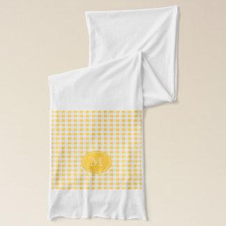 Gelbes weißes Gingham-Muster, Ihr Monogramm Schal