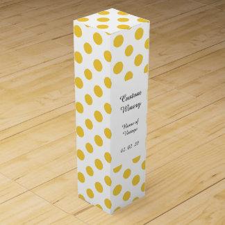 Gelbes weißes Tupfen-Muster Wein-Geschenkverpackung