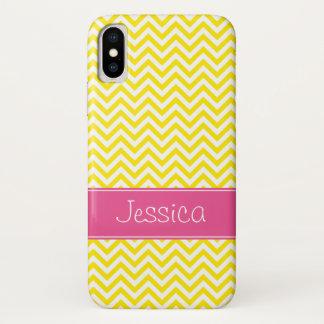 Gelbes Zickzack Chic-Rosa personalisiert iPhone X Hülle