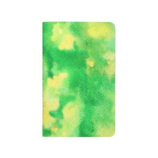 Gelbgrün-Aquarell-Taschen-Zeitschrift Taschennotizbuch