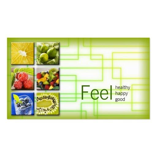 Gelbgrün-quadratisches gesundes visitenkarten vorlagen