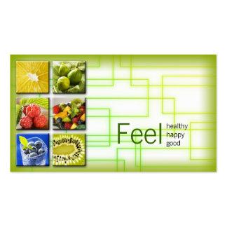 Gelbgrün-quadratisches gesundes visitenkarten