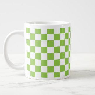 Gelbgrün-Schachbrett-Muster Jumbo-Tasse