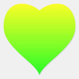 Gelbgrün-Steigung Herz-Aufkleber