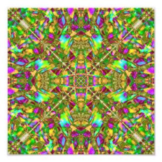 Gelbgrün und rosa Mandala-Muster Fotodruck