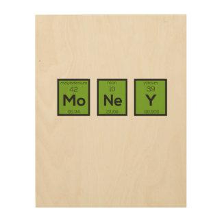 Geld-chemisches Element lustiges Z3z08 Holzleinwand