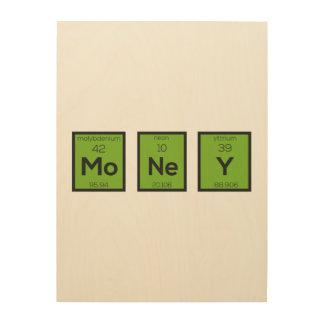Geld-chemisches Element lustiges Z3z08 Holzwanddeko