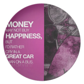 Geld, Glück, großes Auto Melaminteller