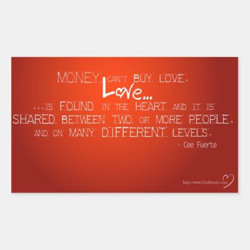 Geld kann Liebe nicht kaufen Rechteckige Sticker