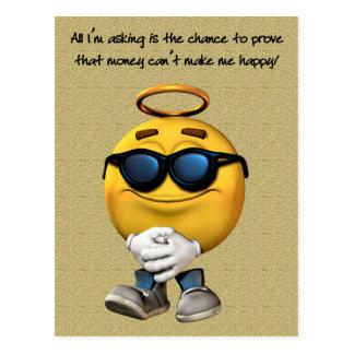 Geld kann mich nicht glücklich machen postkarten