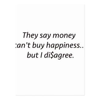 Geld macht nicht glücklich Di$agree schwarzes Postkarte