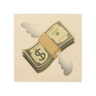 Geld mit Flügeln - Emoji Holzleinwand