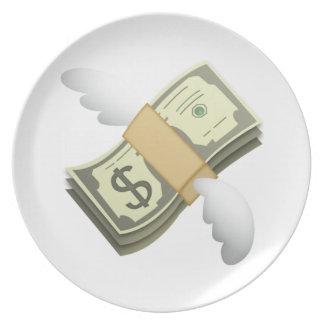 Geld mit Flügeln - Emoji Melaminteller