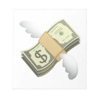 Geld mit Flügeln - Emoji Notizblock