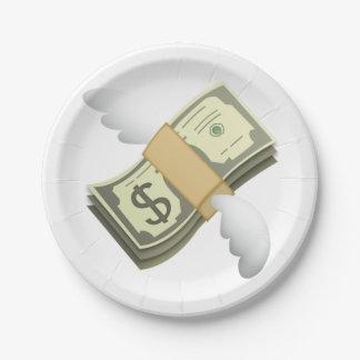 Geld mit Flügeln - Emoji Pappteller