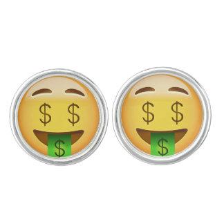Geld-Mund Gesicht Emoji Manschetten Knöpfe