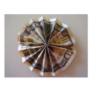 Geld Origami Rosette Postkarte