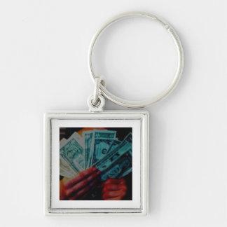 Geld-Sklave Silberfarbener Quadratischer Schlüsselanhänger