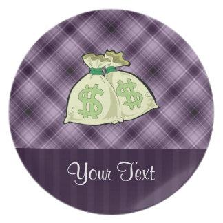 Geld-Taschen; Lila Teller
