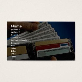 Geldbörse in der Hand Visitenkarte