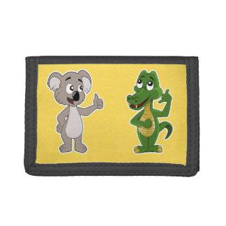 Geldbörse mit Koalabärn- und -alligatorCartoon