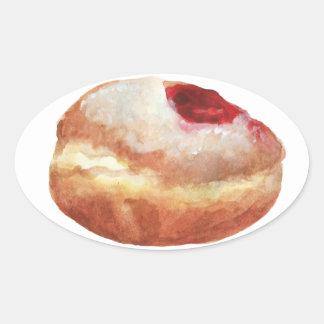 Gelee-Krapfen-Chanukka-Aufkleber Ovaler Aufkleber