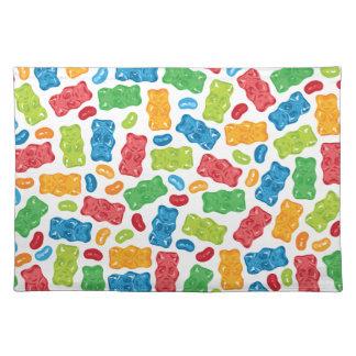 Geleebonbons u. gummiartiges Bärn-Muster Tischset