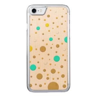 Gelegentliche gelbe aquamarine Goldpunkte Carved iPhone 8/7 Hülle