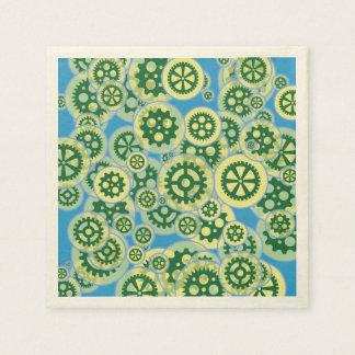Gelegentliche grüne Zahnräder Papierservietten