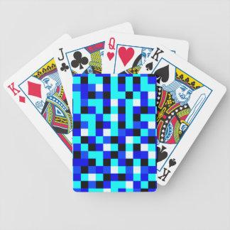 Gelegentliche karierte Pixel-Kunst - Blau u. Weiß Bicycle Spielkarten