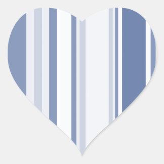 Gelegentliche Streifen-Muster-Schatten des Blaus Herz-Aufkleber