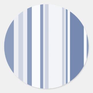 Gelegentliche Streifen-Muster-Schatten des Blaus Runder Aufkleber