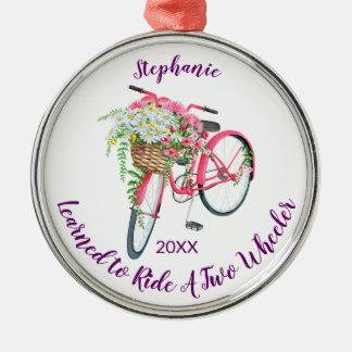 Gelernt, Fahrrad-Andenken und Jahr zu reiten Silbernes Ornament
