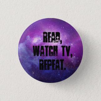 Gelesen, Uhrfernsehen, Wiederholung Runder Button 2,5 Cm