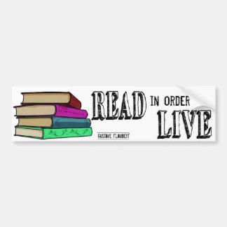 Gelesen, um für Buchliebhaber zu leben Autoaufkleber