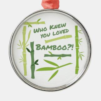 Geliebter Bambus Rundes Silberfarbenes Ornament