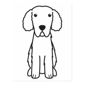 Gelockt-Überzogener Retriever-HundeCartoon Postkarte