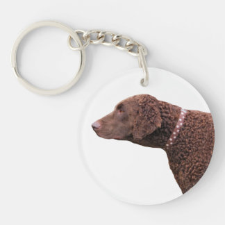 Gelockt-überzogener Retrieverhundeschönes Foto, Beidseitiger Runder Acryl Schlüsselanhänger