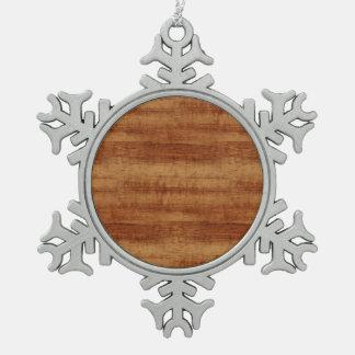 Gelockte Koa Akazien-hölzerner Korn-Blick Schneeflocken Zinn-Ornament