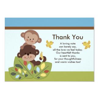Gelockte Schwanz-Affe-Baby-Dusche danken Ihnen zu 12,7 X 17,8 Cm Einladungskarte